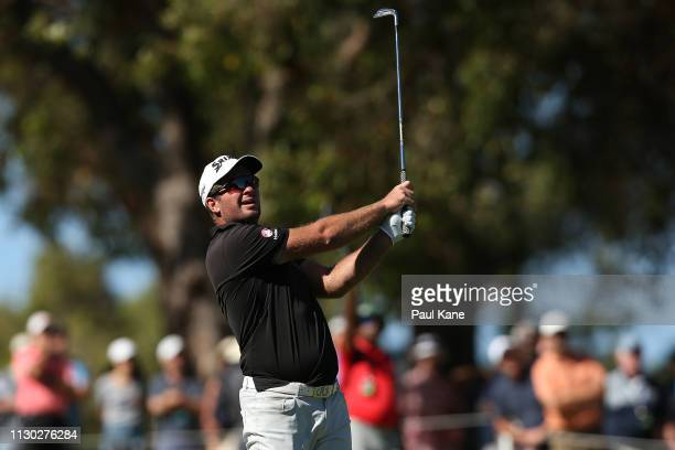 Ryan Fox of New Zealand plays his approach shot on the 3rd hole in the final against Adrian Otaegui Spain during day 4 of the ISPS Handa World Super...