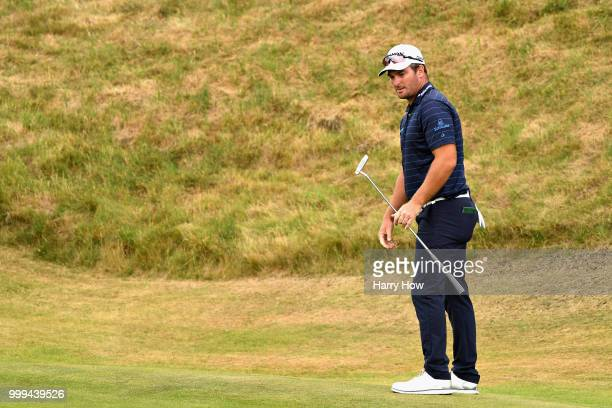 Ryan Fox of New Zealand reacts to a missed birdie putt on hole one during day four of the Aberdeen Standard Investments Scottish Open at Gullane Golf...