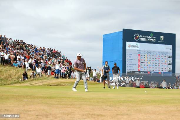 Ryan Fox of New Zealand reacts to a putt on the 18th green during the final round of the Dubai Duty Free Irish Open at Ballyliffin Golf Club on July...