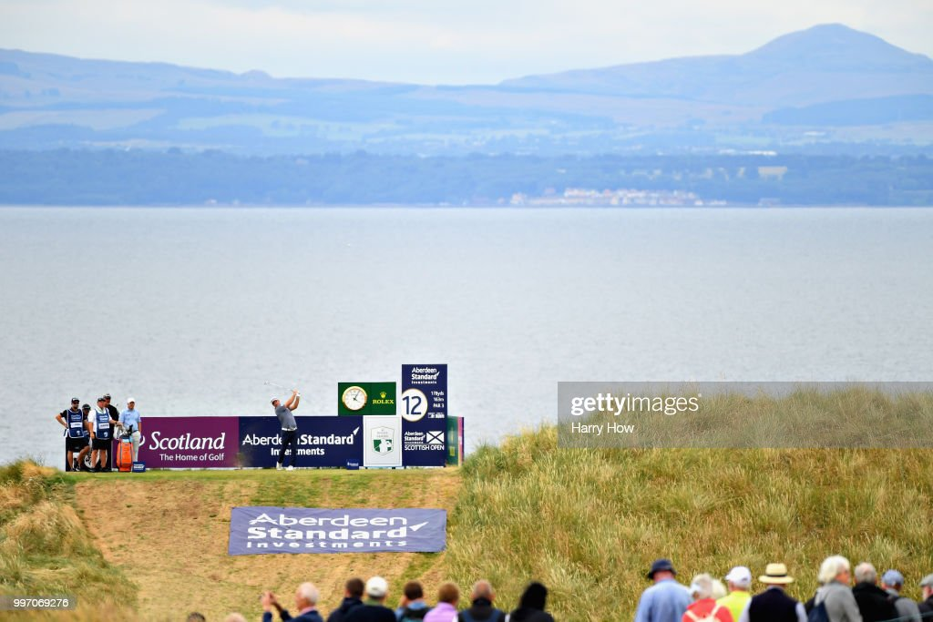 Ryan Fox of New Zealand takes his tee shot on hole twelve during day one of the Aberdeen Standard Investments Scottish Open at Gullane Golf Course on July 12, 2018 in Gullane, Scotland.