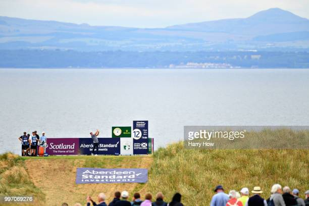 Ryan Fox of New Zealand takes his tee shot on hole twelve during day one of the Aberdeen Standard Investments Scottish Open at Gullane Golf Course on...