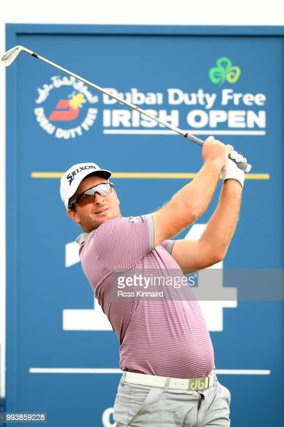 Ryan Fox of New Zealand tees off on the 14th hole during the final round of the Dubai Duty Free Irish Open at Ballyliffin Golf Club on July 8, 2018...
