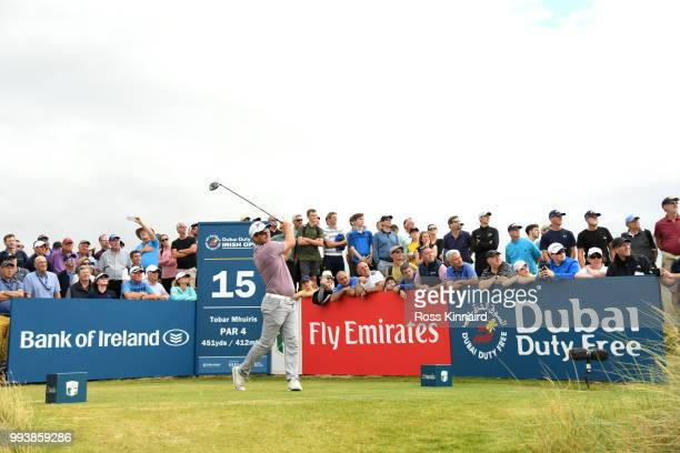 Ryan Fox of New Zealand tees off on the 15th hole during the final round of the Dubai Duty Free Irish Open at Ballyliffin Golf Club on July 8, 2018...