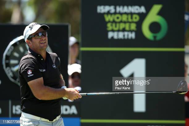 Ryan Fox of New Zealand watches his tee shot on the 1st hole during day 4 of the ISPS Handa World Super 6 Perth at Lake Karrinyup Country Club on...