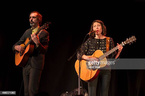 Ryan Francesconi and Alela Diane perform on stage at Foyer del Gran Teatre del Liceu on November 21 2015 in Barcelona Spain