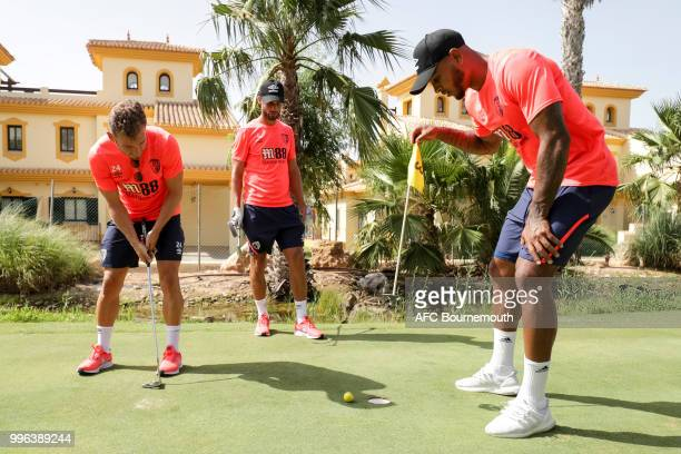 Ryan Fraser, Andrew Surman and Joshua King of Bournemouth during a team bonding game of mini-golf at their training camp at La Manga, Spain on July...