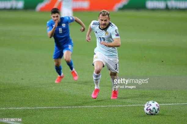 Ryan Fraser controls the ball during the FIFA World Cup 2022 Qatar qualifying match between Israel and Scotland on March 28, 2021 in Tel Aviv, Israel.