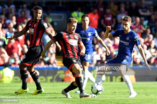 Ryan Fraser of AFC Bournemouth and Jorginho of Chelsea battle for possession during the Premier League match between Chelsea FC and AFC Bournemouth...