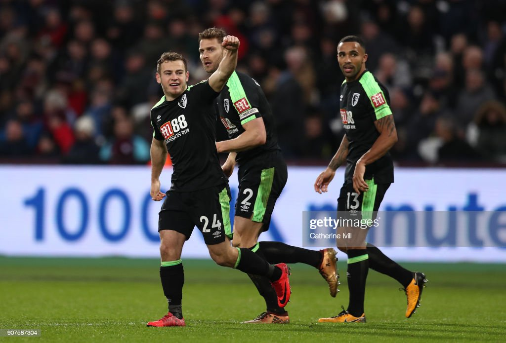 Ryan Fraser of AFC Bournemouth celebrates after scoring his sides first goal during the Premier League match between West Ham United and AFC Bournemouth at London Stadium on January 20, 2018 in London, England.