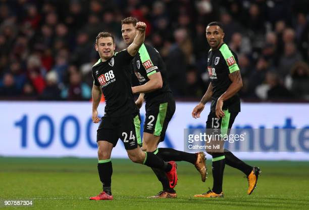 Ryan Fraser of AFC Bournemouth celebrates after scoring his sides first goal during the Premier League match between West Ham United and AFC...