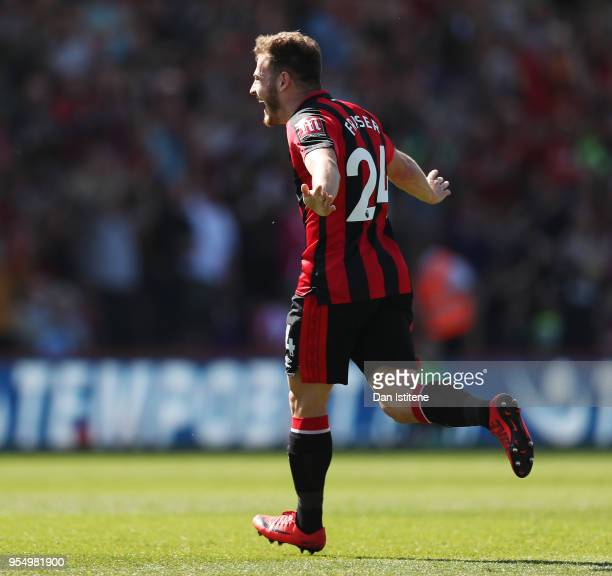 Ryan Fraser of AFC Bournemouth celebrates after scoring his sides first goal during the Premier League match between AFC Bournemouth and Swansea City...