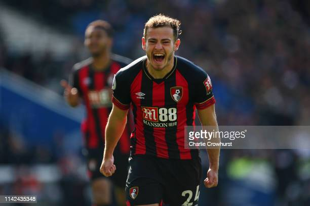 Ryan Fraser of AFC Bournemouth celebrates after scoring his team's second goal during the Premier League match between Brighton & Hove Albion and AFC...