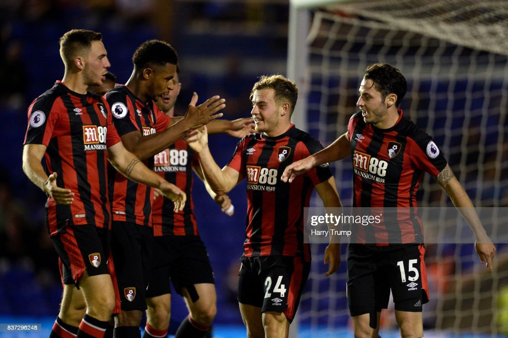 Ryan Fraser of AFC Bournemouth celebrates scoring his sides first goal during the Carabao Cup Second Round match between Birmingham City and AFC Bournemouth at St Andrews (stadium) on August 22, 2017 in Birmingham, England.