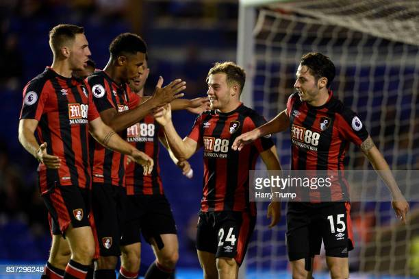 Ryan Fraser of AFC Bournemouth celebrates scoring his sides first goal during the Carabao Cup Second Round match between Birmingham City and AFC...