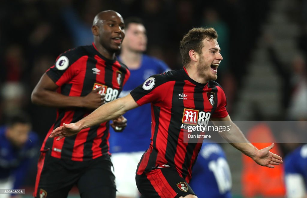 Ryan Fraser of AFC Bournemouth celebrates scoring his team's second goal during the Premier League match between AFC Bournemouth and Everton at Vitality Stadium on December 30, 2017 in Bournemouth, England.