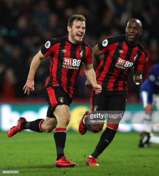 Ryan Fraser of AFC Bournemouth celebrates scoring his team's second goal with Benik Afobe of AFC Bournemouth during the Premier League match between...