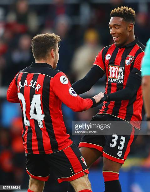 Ryan Fraser of AFC Bournemouth celebrates with Jordan Ibe as he scores their second goal during the Premier League match between AFC Bournemouth and...