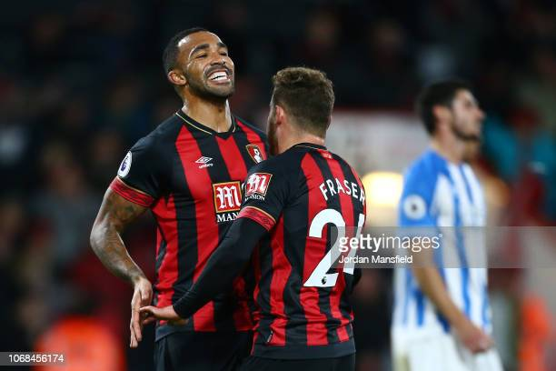 Ryan Fraser of AFC Bournemouth celebrates with teammate Callum Wilson of AFC Bournemouth after scoring his team's second goal during the Premier...