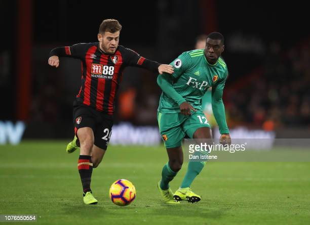Ryan Fraser of AFC Bournemouth holds off Ken Sema of Watford during the Premier League match between AFC Bournemouth and Watford FC at Vitality...