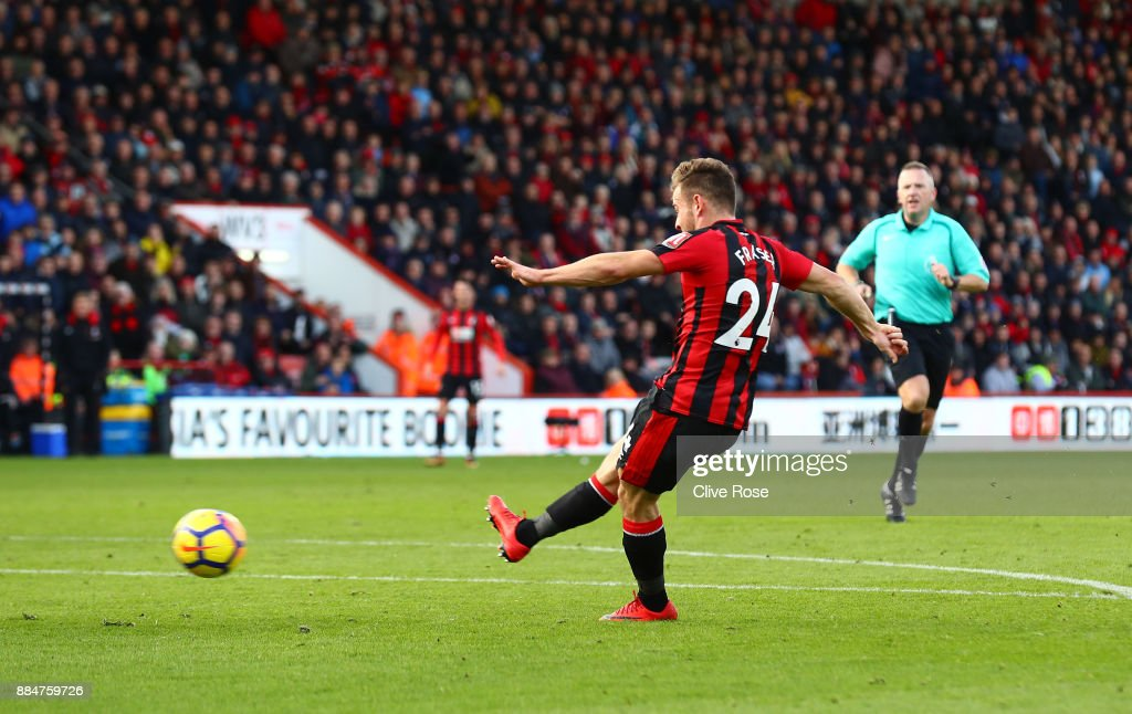 Ryan Fraser of AFC Bournemouth scores his sides first goal during the Premier League match between AFC Bournemouth and Southampton at Vitality Stadium on December 3, 2017 in Bournemouth, England.