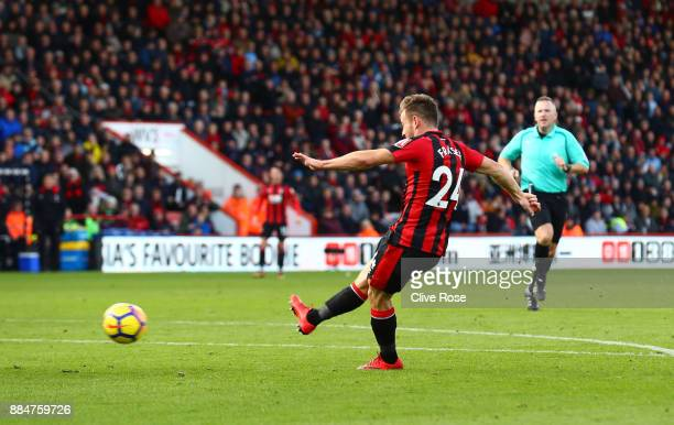 Ryan Fraser of AFC Bournemouth scores his sides first goal during the Premier League match between AFC Bournemouth and Southampton at Vitality...