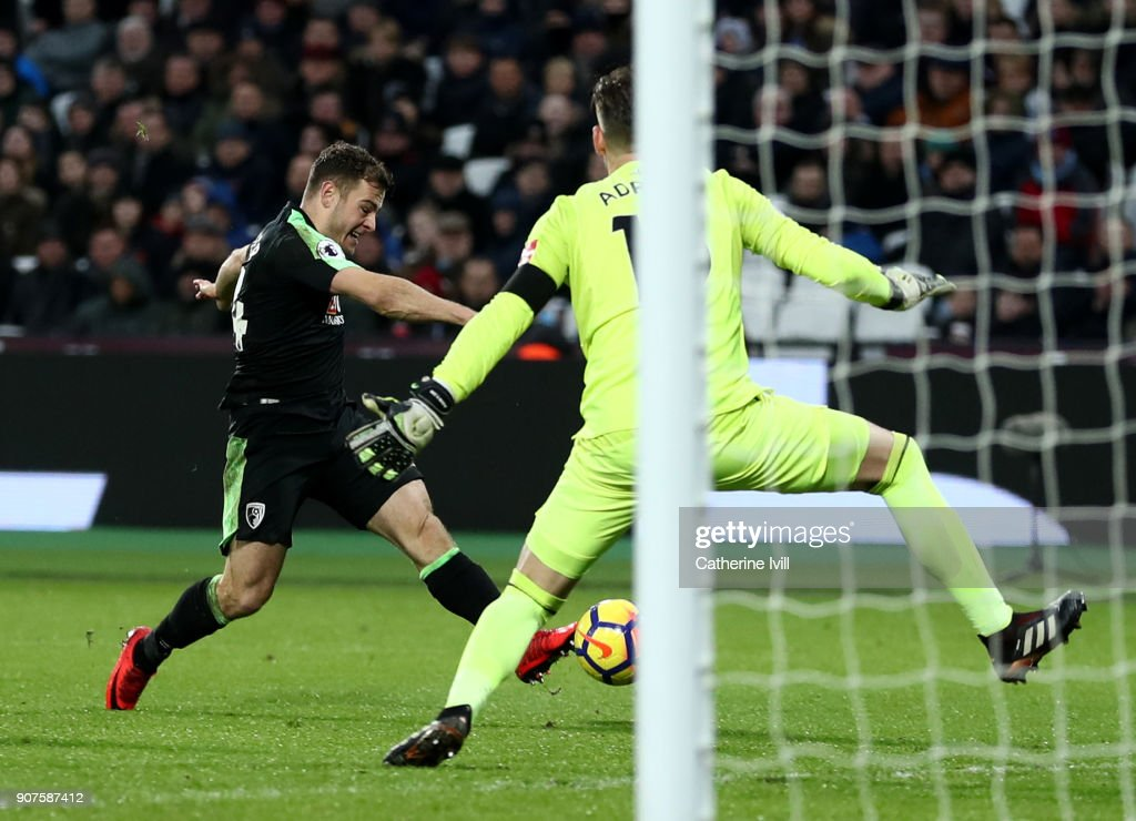 Ryan Fraser of AFC Bournemouth scores his sides first goal past Adrian of West Ham United during the Premier League match between West Ham United and AFC Bournemouth at London Stadium on January 20, 2018 in London, England.