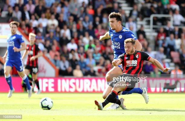 Ryan Fraser of AFC Bournemouth scores his team's second goal during the Premier League match between AFC Bournemouth and Leicester City at Vitality...