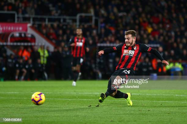 Ryan Fraser of AFC Bournemouth scores his team's second goal during the Premier League match between AFC Bournemouth and Huddersfield Town at...