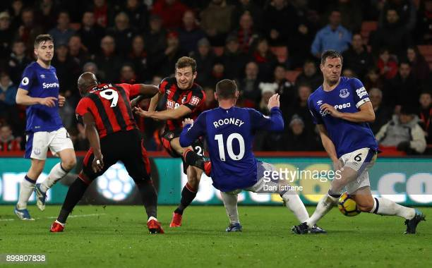 Ryan Fraser of AFC Bournemouth scores his team's second goal during the Premier League match between AFC Bournemouth and Everton at Vitality Stadium...