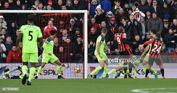 Ryan Fraser of AFC Bournemouth scores the second for his team during the Premier League match between AFC Bournemouth and Liverpool at the Vitality...