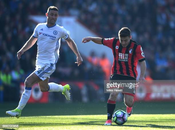 Ryan Fraser of AFC Bournemouth shoots during the Premier League match between AFC Bournemouth and Chelsea at Vitality Stadium on April 8 2017 in...