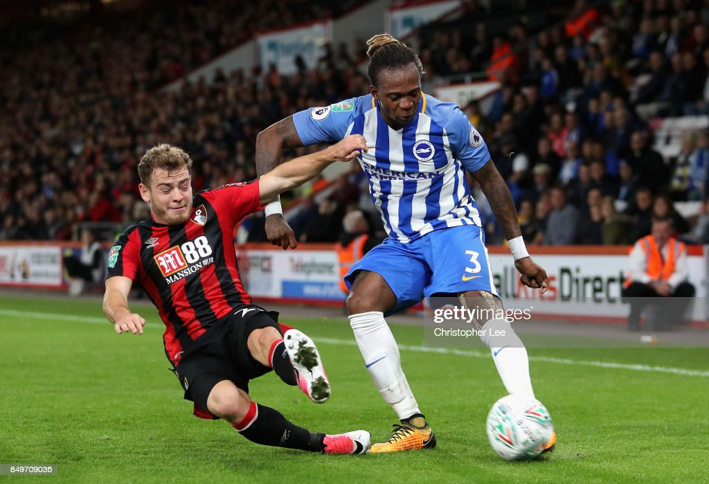 Ryan Fraser of AFC Bournemouth tackles Gaetan Bong of Brighton and Hove Albion during the Carabao Cup Third Round match between AFC Bournemouth and Brighton and Hove Albion at Vitality Stadium on September 19, 2017 in Bournemouth, England.