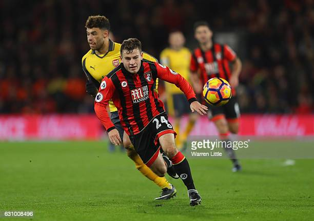 Ryan Fraser of Bournemouth AFC in action during the Premier League match between AFC Bournemouth and Arsenal at Vitality Stadium on January 3 2017 in...