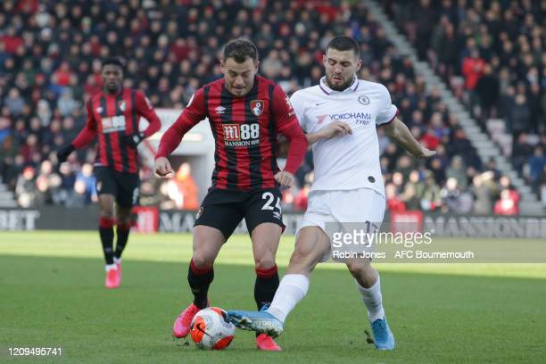 Ryan Fraser of Bournemouth and Mateo Kovacic of Chelsea during the Premier League match between AFC Bournemouth and Chelsea FC at Vitality Stadium on...