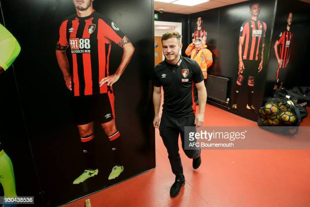 Ryan Fraser of Bournemouth arrives ahead of the Premier League match between AFC Bournemouth and Tottenham Hotspur at Vitality Stadium on March 11...
