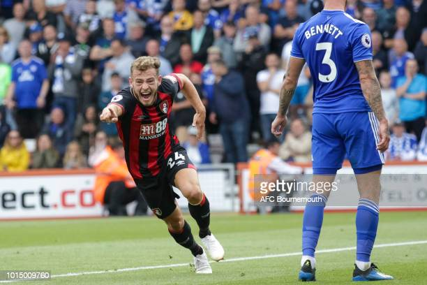 Ryan Fraser of Bournemouth celebrates after he scores a goal to make it 10 during the Premier League match between AFC Bournemouth and Cardiff City...