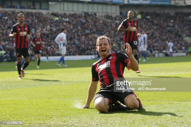 Ryan Fraser of Bournemouth celebrates after he scores a goal to make it 20 during the Premier League match between Brighton Hove Albion and AFC...