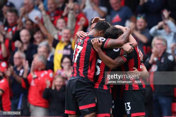 Ryan Fraser of Bournemouth celebrates after scoring a goal to make it 10 during the Premier League match between AFC Bournemouth and Cardiff City at...