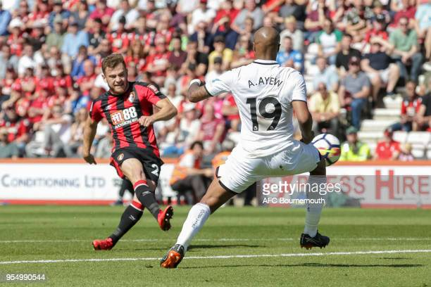 Ryan Fraser of Bournemouth scores a goal to make it 10 during the Premier League match between AFC Bournemouth and Swansea City at Vitality Stadium...