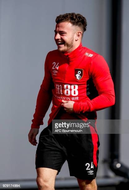 Ryan Fraser of Bournemouth smiles during an AFC Bournemouth training session on March 7 2018 in Bournemouth England