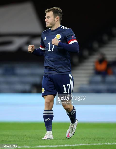 Ryan Fraser of Scotland celebrates after he scores his team's first goal during the UEFA Nations League group stage match between Scotland and Czech...