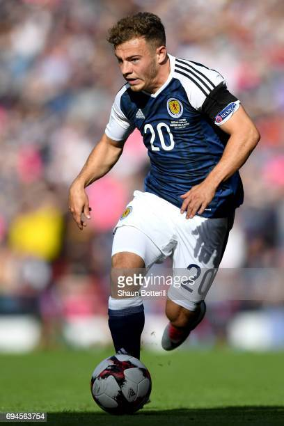 Ryan Fraser of Scotland in action during the FIFA 2018 World Cup Qualifier between Scotland and England at Hampden Park National Stadium on June 10...