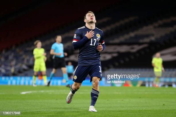 Ryan Fraser of Scotland reacts during the UEFA Nations League group stage match between Scotland and Czech Republic at Hampden Park on October 14...