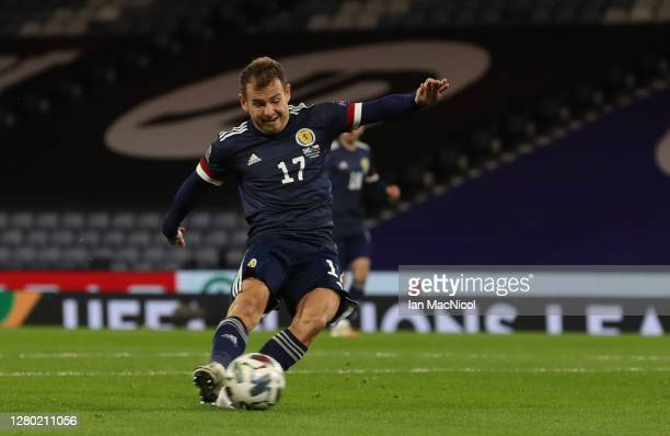 Ryan Fraser of Scotland scores his team's first goal during the UEFA Nations League group stage match between Scotland and Czech Republic at Hampden...