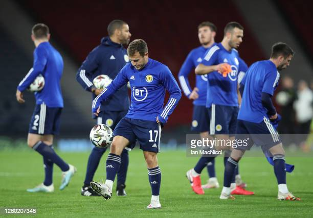 Ryan Fraser of Scotland warms up with his team ahead of the UEFA Nations League group stage match between Scotland and Czech Republic at Hampden Park...