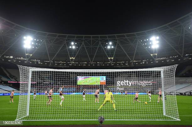 Ryan Fredericks of West Ham scores their team's third goal during the Premier League match between West Ham United and Sheffield United at London...