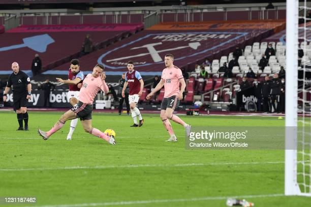Ryan Fredericks of West Ham United scores their 3rd goal during the Premier League match between West Ham United and Sheffield United at London...