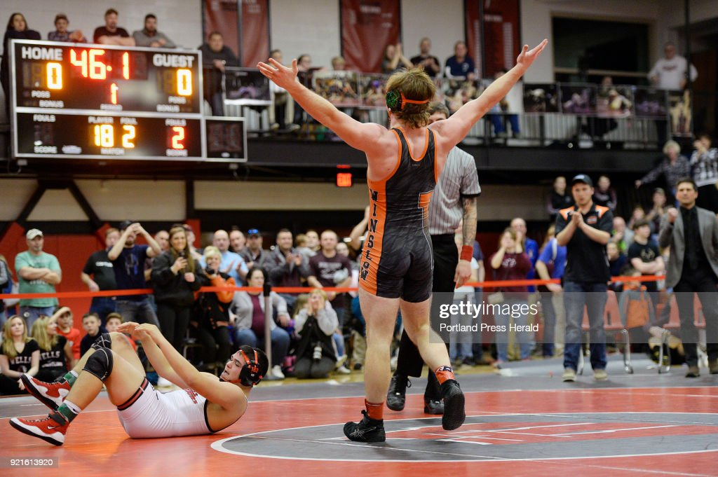 Ryan Fredette of Winslow celebrates his victory in the182lb weight class at the Class B state wrestling championships at Wells High Saturday, February 17, 2018.