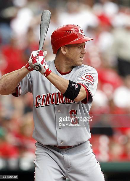 Ryan Freel of the Cincinnati Reds stands ready at bat against of the St Louis Cardinals on April 26 2007 at Busch Stadium in St Louis Missouri The...