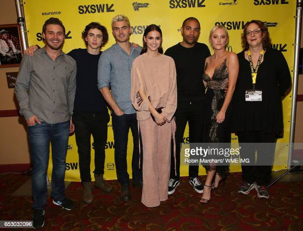 Ryan Friedkin Timothee Chalamet Alex Roe Maia Mitchell Elijah Bynum Maika Monroe and SXSW Diretor of Film Janet Pierson attend Imperative...
